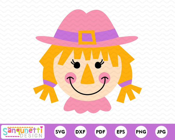 Fall scarecrow girl svg, autumn cut file