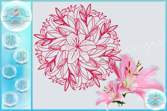 Lillies Lily Flower Floral Mandala Zentangle SVG