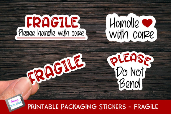 Fragile Stickers - 4 Small Business Printable Stickers
