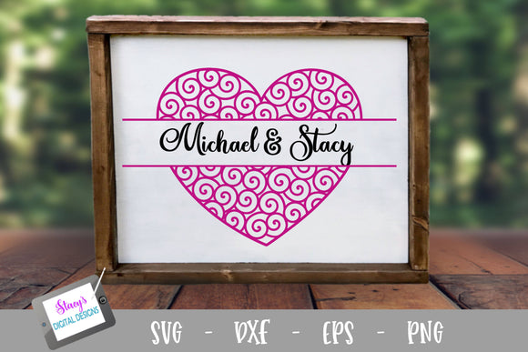 Swirly Heart Split Monogram SVG File