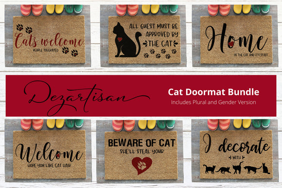 Kitty Cat Doormat Bundle SVG | DXF Premium Cut File for Cricut & Silhouette Machines