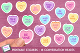Valentine Stickers - 18 print and cut conversation hearts