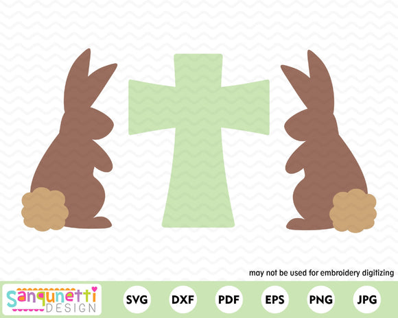 Easter bunnies and cross svg, christian religious cutting files