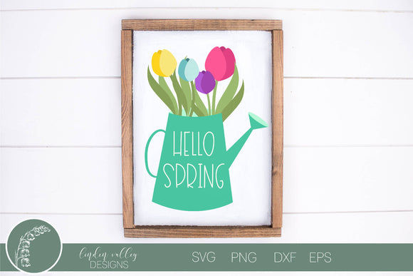 Hello Spring Watering Can SVG