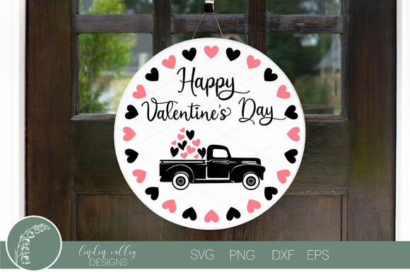 Happy Valentines Day Vintage Truck Round SVG|Valentine SVG|Wood Round Hearts SVG