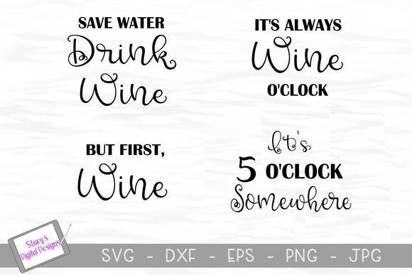 Wine SVG Bundle - 4 Wine SVG Designs