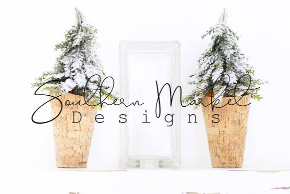 GLASS BLOCK CHRISTMAS DIGITAL MOCK UP STOCK PHOTOGRAPHY
