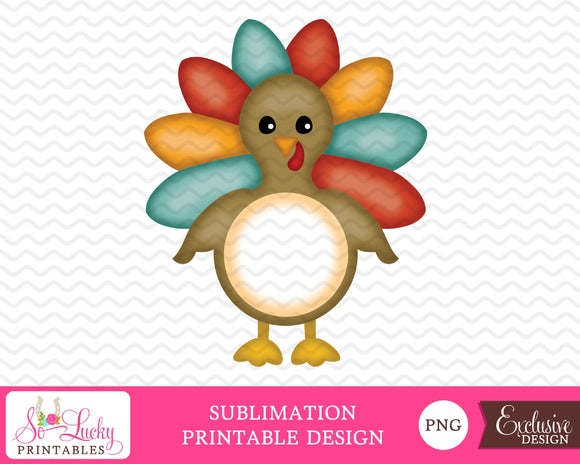 Thanksgiving turkey watercolor printable sublimation design - Digital download - PNG - Printable graphic design