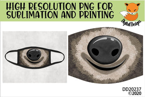 Sloth Face Sloth Nose Sublimation Design for face mask