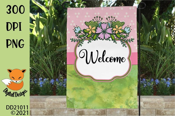 Spring Garden Flag Sublimation Design