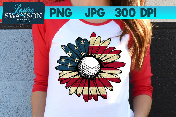 Patriotic Sunflower with Golf