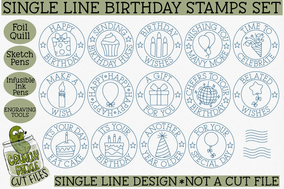 Foil Quill Birthday Stamps / Single Line Sketch
