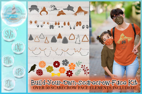 Fall SVG |Scarecrow Mask | Face Mask | Build Your Own Kit | Over 50 Elements Included