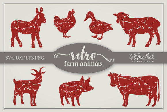 Retro farm animals - distressed