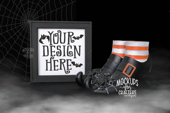 Reverse Canvas Mock-Up, Halloween theme, Witch feet -fog effect