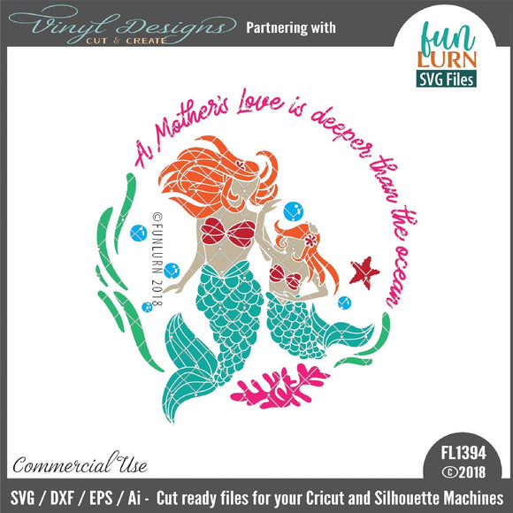 Mother Daughter Mermaid A Mother's Love Cut File