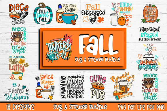 Fall Sticker SVG Bundle - Digital stickers - Planner stickers Bundle