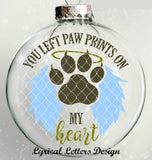 You Left Paw Prints On My Heart Cat Floating Ornament Design