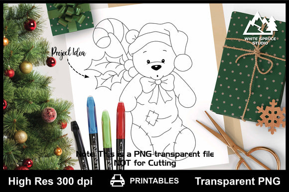 Teddy Bear in Christmas Stocking Printable Line Art PNG