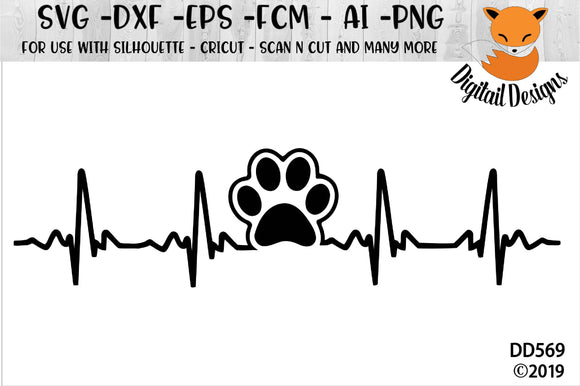 Paw Print EKG Dog Cat Lover Heartbeat SVG