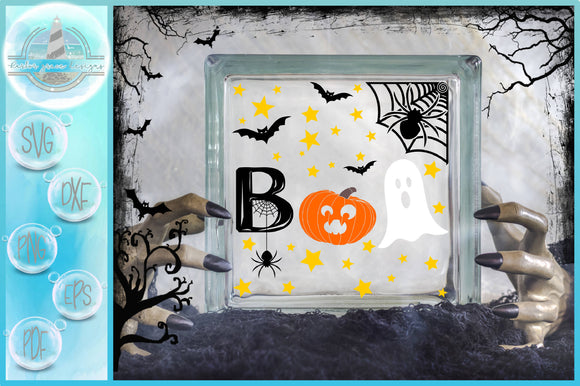 BOO Spider Ghost Pumpkin Glass Block SVG | A Halloween SVG
