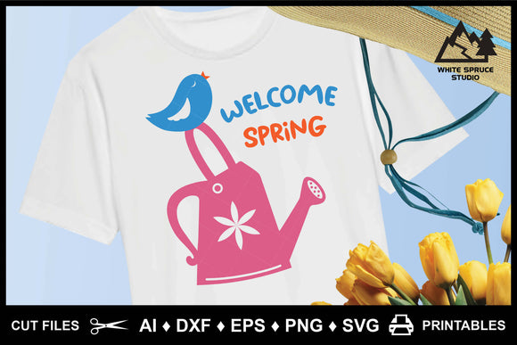 Welcome Spring Watering Can Bird, AI, DXF, EPS, PNG, SVG, Printable