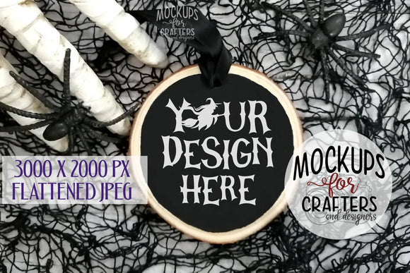 Wood Slice Ornament Mock-Up, Halloween theme