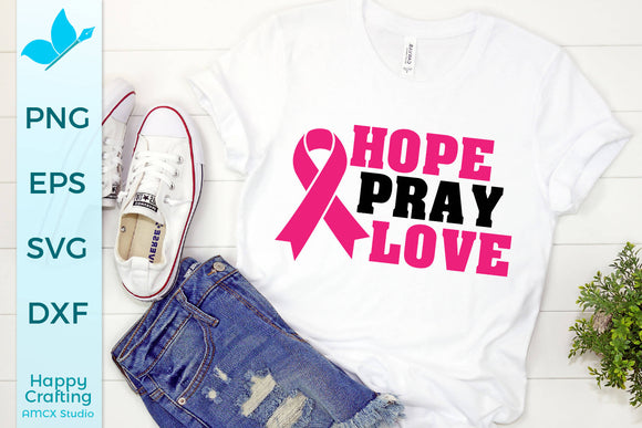 Hope Pray Love Ribbon Cancer Awareness SVG DXF Cut File