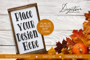Fall 3:2 Tall Wood Sign Mock Up Farmhouse Style PSD, JPG, PNG