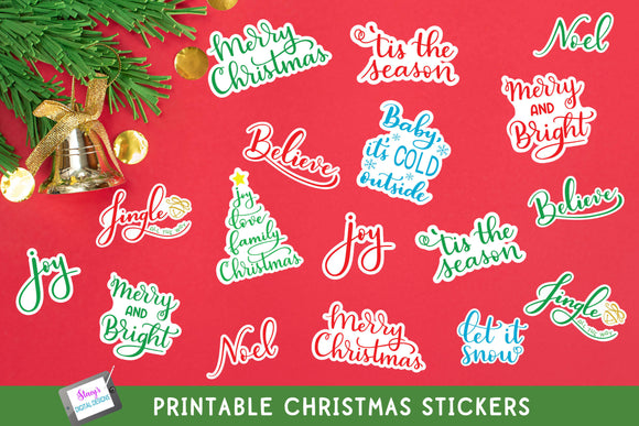 Christmas Stickers - Print and Cut Stickers