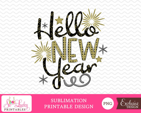 Hello New Year watercolor printable sublimation design - Digital download - PNG - Printable graphic design