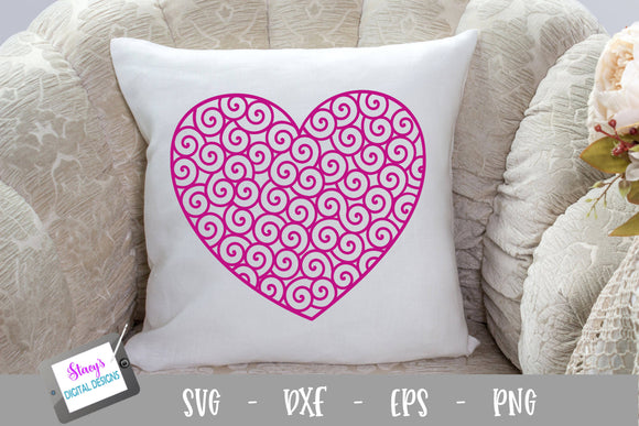 Swirly Heart SVG File - Patterned Heart