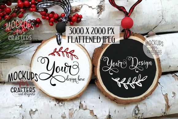 Wood Slice Ornament DUO Mock-Up, Christmas theme