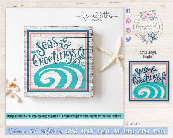 Seas And Greetings Christmas SVG Cut File LL20Oct10