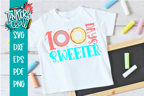 100 Days Sweeter Donut School SVG