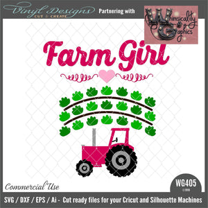 Farm Girl With Tractor Cut File WG405