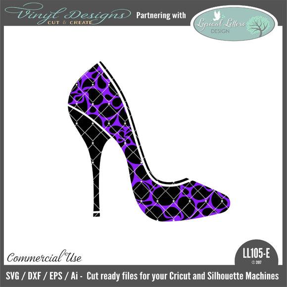 High Heel Shoe with Swirl Artwork