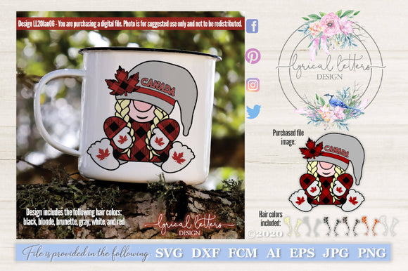 Canadian Gnome Girl SVG Cut File LL20Jan06