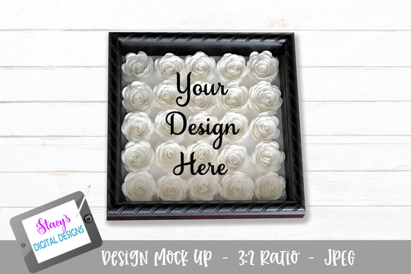 Mock Up - Rolled Flower shadow box - White flowers