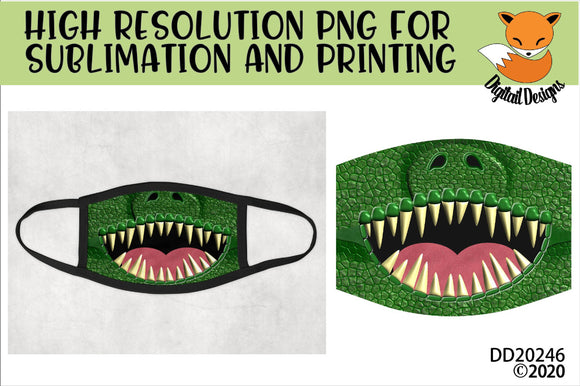 Dinosaur Teeth Face Mask Sublimation Design