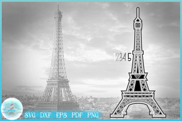 3D SVG | Eiffel Tower Paris Layered Design | 3D Mandala SVG