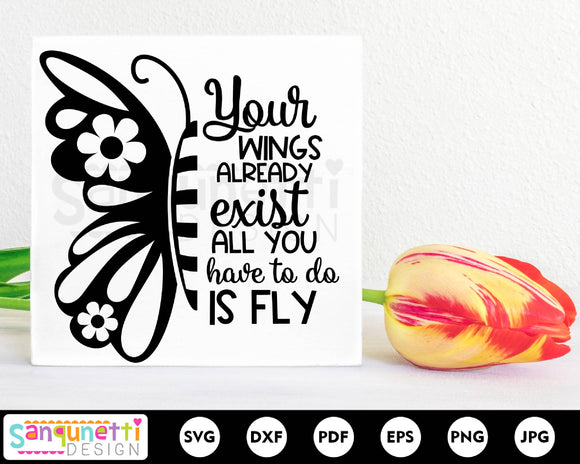 Butterfly quote svg, wings svg, fly svg
