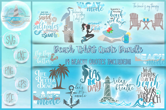 Beach Sealife Quote Bundle SVG