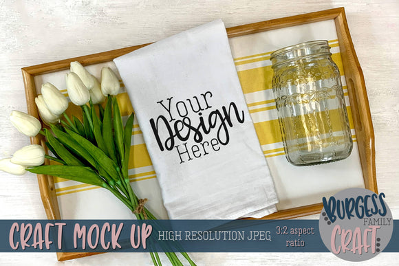 Cheerful flour sack towel | Craft mock up