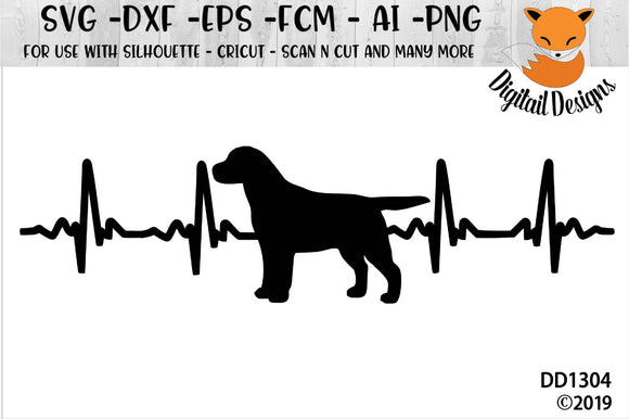 Labrador EKG Dog Lover Heartbeat SVG