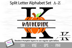 Pumpkin Split Letters - 26 Fall split monogram SVG files