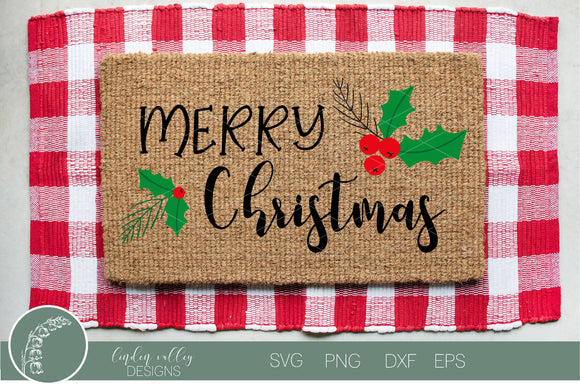Merry Christmas Holly SVG|
