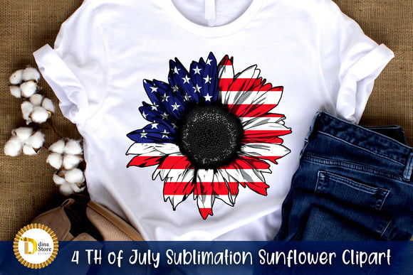 4 th of july Sublimation Sunflower clipart