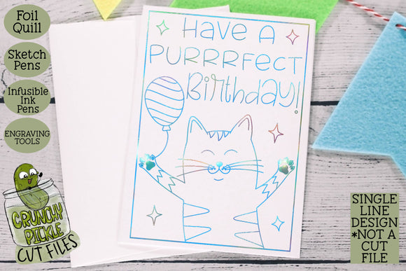 Foil Quill Birthday Card - Cat / Single Line Sketch SVG