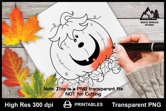 Happy Pumpkin Printable Line Art PNG